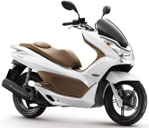 Trendy-Stadsscooter-Honda-PCX125-Wit-Bruin